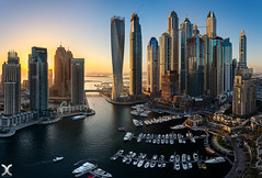 Golden Marina (DanielKHC) Tags: dubai uae marina panorama tilt shift nikon d850 nikkor19mm boat sun architecture skyscrappers
