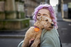 Baxter (Leanne Boulton) Tags: urban street candid portrait portraiture groupshot streetphotography candidstreetphotography candidportrait streetportrait eyecontact candideyecontact streetlife woman female girl face eyes expression mood emotion feeling colourful pink hair style fashion dog pet pooch animal tag fur furry cute adorable terrier cuddle friendship tone texture detail depthoffield bokeh naturallight outdoor light shade city scene human life living humanity society culture lifestyle people canon canon5dmkiii 70mm ef2470mmf28liiusm colour glasgow scotland uk