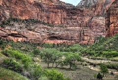 Zion Canyon viewed from the Canyon Floor with the Virgin River and Angels Landing Hiking Trail (PhotosToArtByMike) Tags: angelslandinghikingtrail zioncanyon zionnationalpark hiking trail utah ut limestone erosion canyon sheer sandstone cliffs scenic desert goldensandstone rockspires gorge landscape rockformations arid desertlandscape