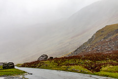 Honister Pass (Keith now in Wiltshire) Tags: honister pass lakedistrict nationalpark mountain scree steep slope cloud rain mist fog gloomy weather wet road rock grass bracken autumn cumbria england english landscape hdr
