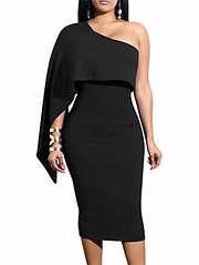 GOBLES Women's Summer Sexy One Shoulder Ruffle Bodycon Midi Cocktail Dress (Shopping Guide 7) Tags: bodycon cocktail dress gobles midi one ruffle sexy shoulder summer womens