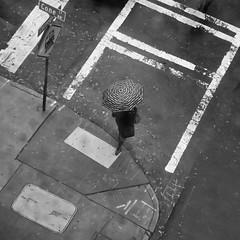 crossing in style (Jim_ATL) Tags: striped umbrella street corner rain autumn aerial pov minimal bw blackandwhite atlanta