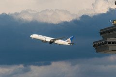 19-4647 (George Hamlin) Tags: n26910 boeing 7878 virginia chantilly washington dulles international airport iad united airlines dramatic colorful clouds control tower sky stormy photodecor george hamlin photography