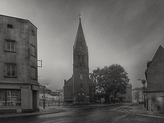The intersection of Grunwaldzka and Głowackiego Streets (wojciechpolewski) Tags: streetexploration streetexplorer urban urbanexplorer urbexexploration streetsnap church christian evangelic photo photos schwarzweis blanconegro blackwhite blackandwhite architecture poland wpolewski morning