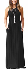 GRECERELLE Women's Sleeveless Racerback Loose Plain Maxi Dresses Casual Long Dresses with Pockets (Shopping Guide 7) Tags: casual dresses grecerelle long loose maxi plain pockets racerback sleeveless with womens