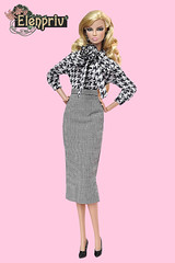 Elegant look from Eugenia (elenpriv) Tags: eugenia perrin frost city prowl 12inch fr2 fashionroyalty jasonwu doll integrity toys fashion elenpriv elena peredreeva handmade clothes dollclothes checkered collection skirt midi blouse goosefootprinted pieldepouleprinted