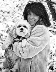 "Pam and Pooka (Jack Blackstone) Tags: ""smileonsaturday"" ""peopleandpets"" eyes bokeh dof contrast smile beauty mature bloomington indiana hoosier ""cavachonbitch"" portraiture lighting dog woman ""familypet"" spouse wife 2019 pam pooka snow cold portrait monochrome cavachon em1mkii on1 sep2 pet blackandwhite"