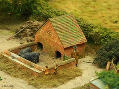 Pig sty (mark.griffin52) Tags: macro olympusem5 england oxfordshire pendonmuseum 1930s rural farmer pigsty pigs scene 4mmscale scalemodel model