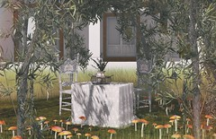 Charming and peculiar... I love this secluded place... (Rose Sternberg) Tags: deco decor home garden interior outdoor landscape second life november 2019 exclusive for aphrodite shop dreamy lace scuare table rare romantic vintage chairs kraftwork cozy holiday tray little branch olive tree shade animated seasons equal10 equal 10 fly agaric moshorooms cluster