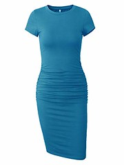 Missufe Women's Short Sleeve Ruched Casual Sundress Midi Bodycon T Shirt Dress (Shopping Guide 7) Tags: bodycon casual dress midi missufe ruched shirt short sleeve sundress womens