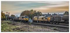 Double Treatment (Jim the Joker) Tags: 97304 class97 johntiley networkrail class37 rhtt railheadtreatmenttrain 3s71 56105 56078 class56 3s31 suttonbridgejunction shrewsbury railway semaphoresignals signalbox train freight
