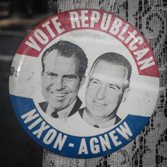 Campaign  button / Vintage (swampzoid) Tags: richardnixon spiroagnew campaign button vintage old round circle two men politics watergate republican president crooks crooked criminals 1960s memorabilia circular pin 2 history us american political