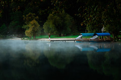 Waiting (iwona.kilichowska) Tags: scenery mist fog foggy misty water lake reflections boat person trees park nature colours