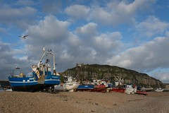 Flypast (James Waghorn) Tags: hastings beach nikon d7100 clouds cliffs bird tamron1024f3545diiivchld pebbles boat seagull eastsussex autumn thestade england