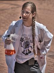 The Professor (Scott 97006) Tags: man guy professor chemicals flask liquid gas experiment science chemistry fingernails braid ponytail microphone vapor nailpolish