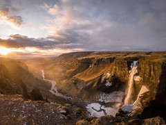 Iceland (Woyciech Zet) Tags: iceland island is water waterfall sun sunset landscape view mountains river sky nature rocks clouds