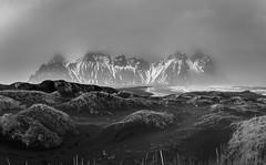 Vestrahorn Beach (Andrew Gibson.) Tags: ashbeach blacksand easticeland h2o iceland mountain nature rocks sea sky sonya7ii sonyilce7m2 stokksnes vestrahornbeach water bwblackandwhite landscape scene