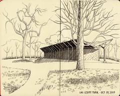 Lac Leamy Park pavilion (Michael Lukyniuk) Tags: gatineau inkdrawing moleskine landscape