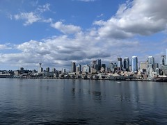 Downtown From the Water (Seattle Department of Transportation) Tags: sdot seattledepartmentoftransportation evelynhathaway water ferry view buildings seattle transportation spaceneedle cranes clouds