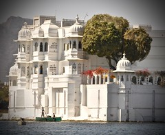 Another View of the Taj on the Lake (The Spirit of the World ( On and Off)) Tags: udaipur rajasthan india lake tajlakepalacehotel trees bougainvillea boat famous jamesbond architecture culturalcenter