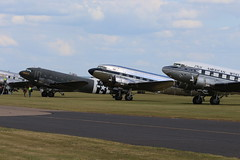 2019-06-03; 0186. Douglas C-47A-40-DL Skytrain (1943), N74589, ID, 'Placid Lassie', C-41A (1939), N341A, 'Hap Penstance' en C-47B (1945), NC33611 'Clipper Tabitha May'. Duxford. (Martin Geldermans; treinen, Züge, trains, vliegtu) Tags: dc3 douglasc47 douglasdc3 c47 dakota heritageplane historischvliegtuig historischeflugzeuge museumvliegtuig wwiiplane propellor daksovernormandy duxford imperialwarmuseum