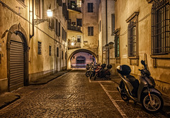 Arched Backstreet Night (henriksundholm.com) Tags: city urban night cobblestone backstreet street bike motorbike motorcycle traffic lighttrails building tunnel architecture color florence firence tuscany italy