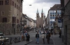 1991-05-15 Würzburg (beranekp) Tags: germany deutschland würzburg slide tramway tram tranvia tramvaj strassenbahn šalina elektrika električka kostel kirche church
