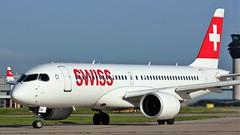 HB-JCG (AnDyMHoLdEn) Tags: airbus a220 a220300 bombardier cs300 lufthansagroup staralliance swiss egcc airport manchester manchesterairport 23l