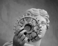 She blinded me with science (Mado46) Tags: bxl06 potsdam orangerie orangery mado46 germany deutschland woman frau statue zahnrad gearwheel 777v7f