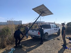 Using the truck to raise a solar panel pole