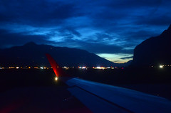 blue sky (Wolfgang Binder) Tags: blue sky clouds evening wing windowseat airport nikon d7000 zeiss distagon distagont2825 innsbruck alps mountains valley