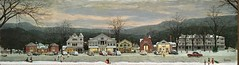 Norman Rockwell – Norman Rockwell Museum. Home for Christmas (Stockbridge Main Street at Christmas) (1967) (lack of imagination) Tags: 10001500 blog cars christmas evening houses normanrockwell people shops townscape trees