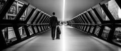Man At Work (Sean Batten) Tags: london england unitedkingdom europe street streetphotography city urban blackandwhite bw person candid fujifilm x100f bridge canarywharf eastlondon docklands