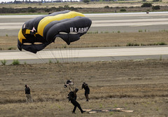 Landing Just off the Mark (dcnelson1898) Tags: 2019mcasmiramarairshow marinecorpsairstationmiramar unitedstatesmarinecorps marines military flight airshow airplanes sandiego california unitedstatesarmy goldenknightsparachuteteam soldiers airborne parachute paratrooper