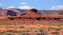 Navajo Hogans at the Hub Rock Formation - Monument Valley Tribal Park, Northern Arizona (danjdavis) Tags: monumenrtvalley monumentvalleytribalpark arizona thehub rockformation hogans desertlandscape