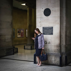 Woman at the station (Michael Erhardsson) Tags: 1x1 square photo newcastle uk 2019