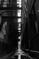 down in the loop. chicago, il. 1997. (eyetwist) Tags: eyetwistkevinballuff eyetwist chicago loop alley fireescape narrow puddle reflection bw black white nikon n90s sigma 2470 f28 kodak trix 400 400tx nikonn90s sigma2470f28exdg kodaktrix400400tx ishootfilm ishootkodak analog analogue emulsion film coolscan scansfromthearchives dark railing handrail geometric angles contrast 1997 lookingup street architecture building federal alleyway vanishingpoint jacksonblvd illinois rainwater water urban canyon slot gap concrete