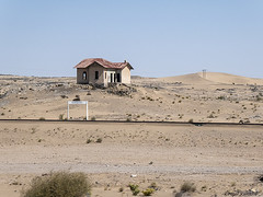 Namibia (peterkaroblis) Tags: namibia grasplatz bahnhof railwaystation schienen rails building haus wüste desert lüderitz kolmanskop