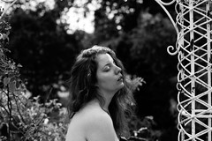 Manon. (Nicolas Fourny photographie) Tags: canon eos1n 35mm 50mm model beauty portrait portraiture womanportrait girlportrait blackandwhite bw grain film filmisnotdead analogphotography analogcamera nude nudity nakedgirl nakedwoman redhair bokeh dof depthoffield nature summer trees kodak tmax nomakeup sensual sensuality naturallight