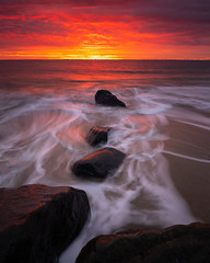 Sandy Hook Sunrise (Derek Boen) Tags: sandyhook newjersey nj gatewaynationalpark beach shore sunrise waves rocks pentax pentaxk1 pentax1530 sirui fotodiox wonderpana ndgrad