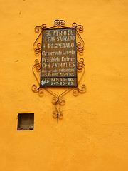 A sign asking people to respect the property, keep it clean and don't enter with animals on the yellow wall of a church in Cholula, Mexico (albatz) Tags: yellow wall church cholula mexico sign