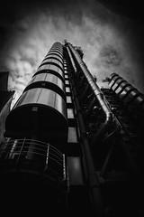 Lloyds (cliveg004) Tags: lloydsoflondon cityoflondon city london lloyds bowellism architecture steel bw blackandwhite monochrome mono building sky clouds nikon d7500 tamron1024