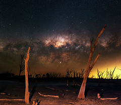 Milky Way at Yenyening Lakes, Western Australia (inefekt69) Tags: yenyening lakes salt lake dead trees panorama stitched mosaic ms ice milky way cosmology southern hemisphere cosmos western australia dslr long exposure rural night photography nikon stars astronomy space galaxy astrophotography outdoor core great rift ancient sky d5500 landscape nikkor prime beverley wheatbelt 50mm ioptron skytracker hoya red intensifier