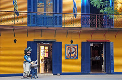 The blue & yellow of one of Argentina's favourite 'futbol' teams, the Boca Juniors, in La Boca, Buenos Aires (albatz) Tags: bright yellow laboca buenosaires argentina wall