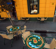 Café with a yellow wall in La Boca, Buenos Aires (albatz) Tags: bright yellow laboca buenosaires argentina wall