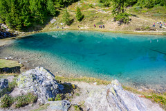 Blue lagoon (SLpixeLS) Tags: switzerland arolla lagouille mountain swiss landscape alps forest wood bluelake lacbleu