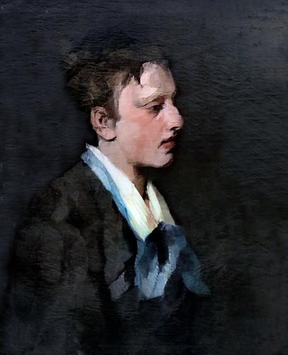 IMG_2405 Wilhelm Trübner 1851-1917  München Brüsselerin mit blauer Kravatte  Femme bruxelloise avec une cravate bleue Brussels woman with blue tie1874 München Lenbachhaus