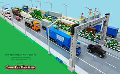Greek National Highway (George Legoman) Tags: lego moc classictown legoland truck bus coach tractor trailer semitrailer vehicle 4studswide highway road national greek