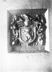 Deep seated crest with personality? (National Library of Ireland on The Commons) Tags: irishpersonalitiesphotographiccollection nationallibraryofireland personalities ireland crest armorialcrest wall niche lionrampant helmet pd