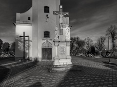 Church of Saint John of Nepomuk (wojciechpolewski) Tags: blanconegro blackwhite schwarzweis blackandwhite poland wpolewski church christian holycross holyplace sunlight autumn photo photos sacral urbanexplorer streetexplorer countryside